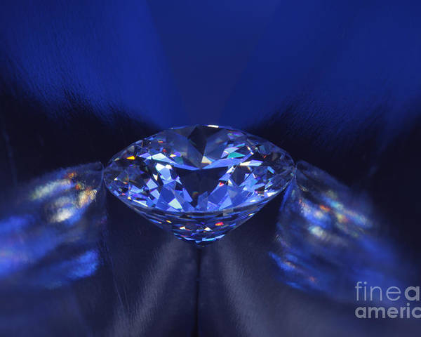 Abundance Poster featuring the jewelry Closeup Blue Diamond In Blue Light. by Atiketta Sangasaeng