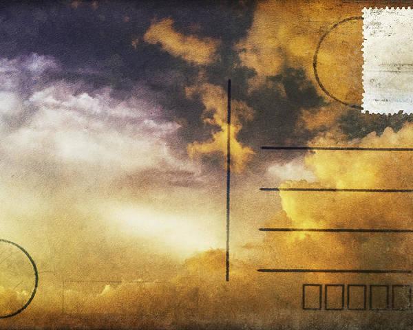Address Poster featuring the photograph Cloud In Sunset On Postcard by Setsiri Silapasuwanchai