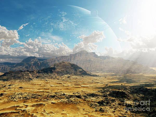 Artwork Poster featuring the digital art Clouds Break Over A Desert On Matsya by Brian Christensen