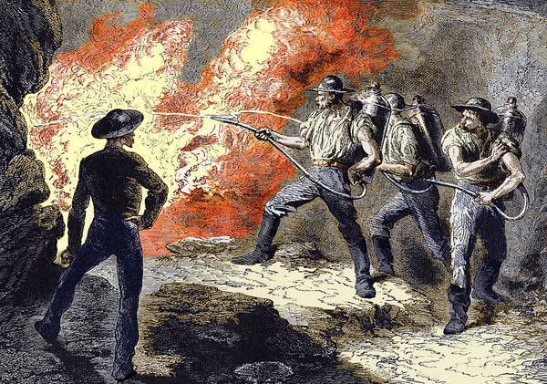 Fire Extinguisher Poster featuring the photograph Coal Mine Fire, 19th Century by Sheila Terry
