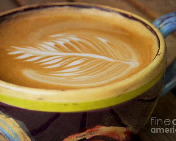 Coffee Poster featuring the photograph Coffee Art Leaf by Kim Fearheiley