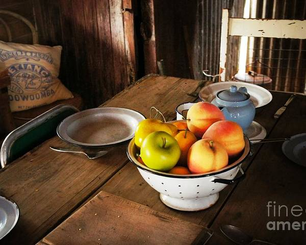 Colander Poster featuring the photograph Colander Of Fruit by Therese Alcorn