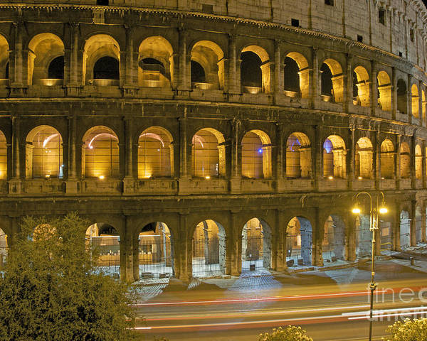 Worth Poster featuring the photograph Coliseum Illuminated At Night. Rome by Bernard Jaubert