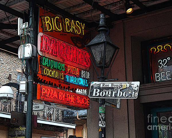 Travelpixpro New Orleans Poster featuring the digital art Colorful Neon Sign On Bourbon Street Corner French Quarter New Orleans Poster Edges Digital Art by Shawn O'Brien
