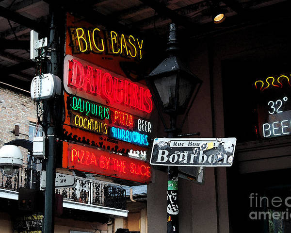 Travelpixpro New Orleans Poster featuring the digital art Colorful Neon Sign On Bourbon Street Corner French Quarter New Orleans Watercolor Digital Art by Shawn O'Brien