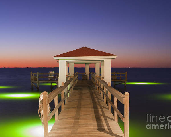Gulf Of Mexico Poster featuring the photograph Colorful Sunrise With Fishing Pier At The Texas Gulf Coast by Andre Babiak