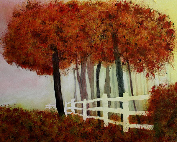 Trees Poster featuring the painting Colors of Autumn by Mary Gaines