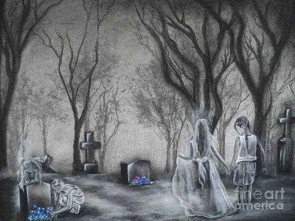 Cemetary Poster featuring the drawing Communion by Carla Carson