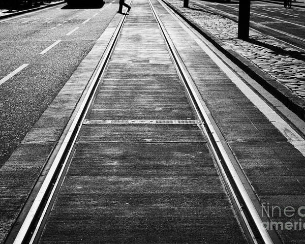 Princes Poster featuring the photograph Completed Tram Rails On Princes Street Edinburgh Scotland Uk United Kingdom by Joe Fox