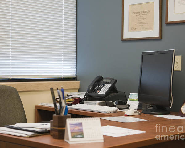Blinds Poster featuring the photograph Computer Monitor And Office Space by Andersen Ross