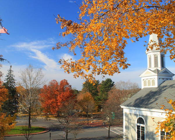 Town Common Poster featuring the photograph Concord Massachusetts In Autumn by John Burk