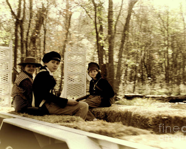 Kid; Kids; Hayride; Hay; Sepia; Confederate; Soldiers; Soldier; Acting; Old Time; Old Photograph; Vintage; Independence Poster featuring the photograph Confederate Kids by Diego Re