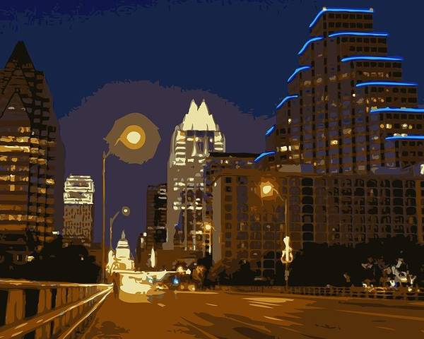 Austin City Limits Poster featuring the photograph Congress Street Bridge Color 16 by Scott Kelley