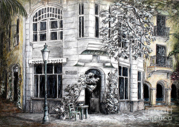 Architectural Drawings Poster featuring the painting Corner Tea by Danuta Bennett