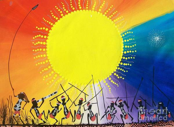 Aboriginal Art Poster featuring the mixed media Corobooree by David Dunn