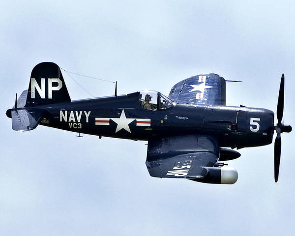 Airshow Poster featuring the photograph Corsair In Flight by Greg Fortier