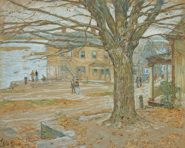 November Poster featuring the pastel Cos Cob In November by Childe Hassam
