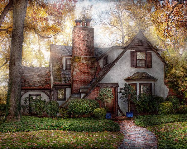 Cottage Poster featuring the photograph Cottage - Westfield Nj - Grandma Ridinghoods House by Mike Savad