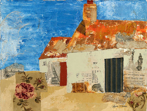 Architectural Poster featuring the mixed media Cottage By The Sea by Regina Thomas