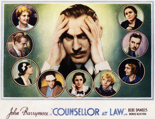 1930s Movies Poster featuring the photograph Counsellor At Law, Center John by Everett