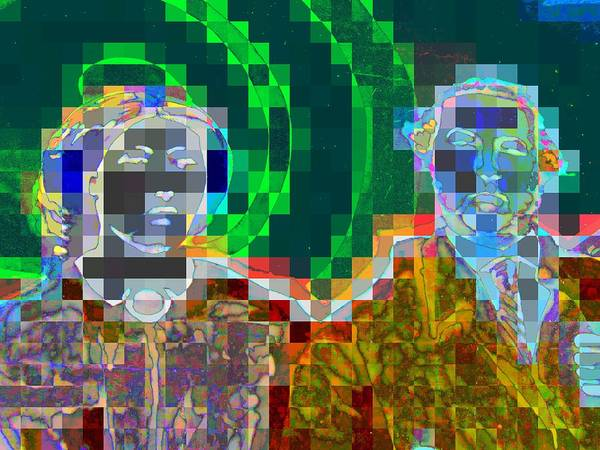 Pixel Poster featuring the digital art Couple by Randall Weidner