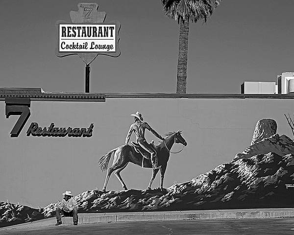 Cowboy Black And White Landscape Billborad Signs Horses Hat Rock Number 7 Poster featuring the photograph Cowboy Billboard by Alex Lemus