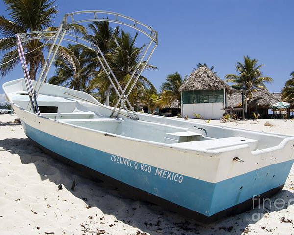 Cozumel Poster featuring the photograph Cozumel Mexico Fishing Boat by Shawn O'Brien
