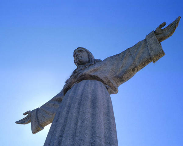 Catholic Monument Of Jesus Christ Inspired By The Christ The Redeemer Statue In Rio De Janeiro Poster featuring the sculpture Cristo Rei by Anonymous