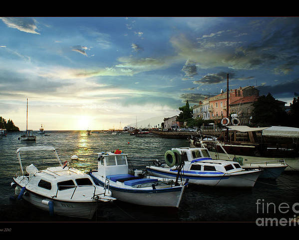Harbour Photograph Poster featuring the photograph Croatia Istrien by Bruno Santoro
