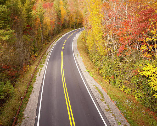 Horizontal Poster featuring the photograph Curvy Road Blue Ridge Parkway, North Carolina by Lightvision, LLC