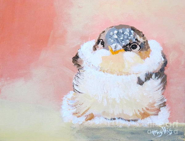 Baby Bird Poster featuring the painting Cute Baby Birdy by Phyllis Kaltenbach