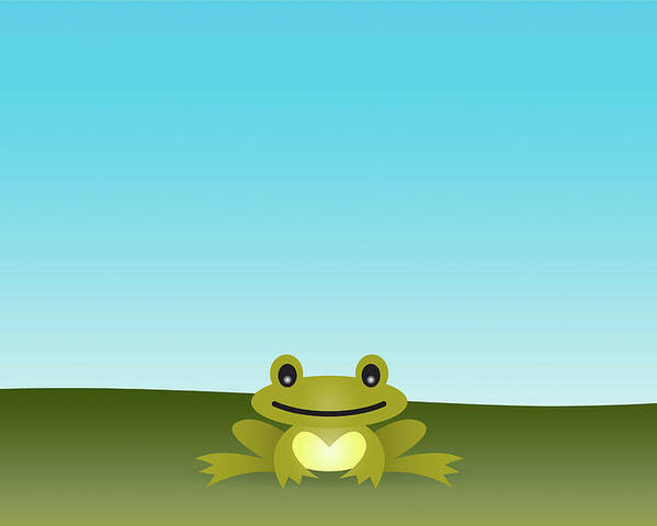 Horizontal Poster featuring the digital art Cute Frog Sitting On The Grass by © Roctopus
