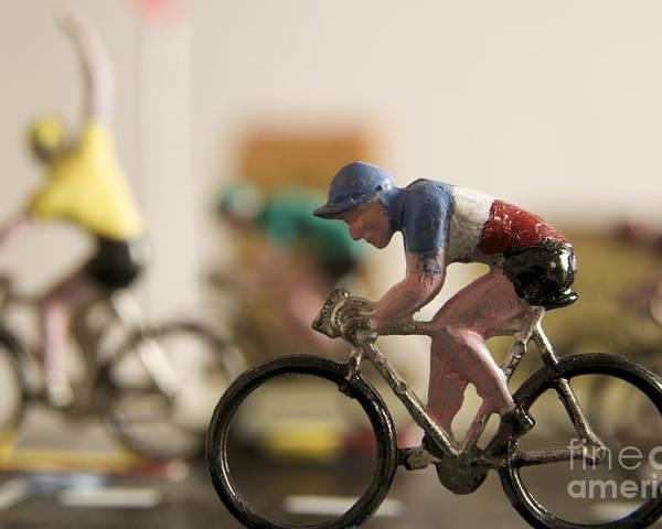 Tour Poster featuring the photograph Cyclists. Figurines. Symbolic Image Tour De France by Bernard Jaubert