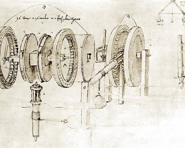 Engineering Poster featuring the photograph Da Vinci's Notebook by Library Of Congress
