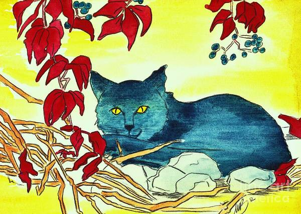 Watercolour Poster featuring the painting Dark Cat by Michaela Bautz