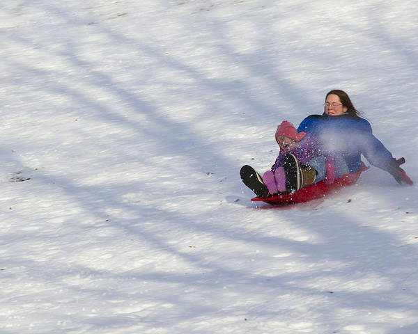 Mother Poster featuring the photograph Dawn Flora Sledding 12812c by John Brueske