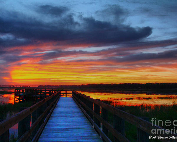 Fishing Pier Poster featuring the photograph Dawn Skies At The Fishing Pier by Barbara Bowen
