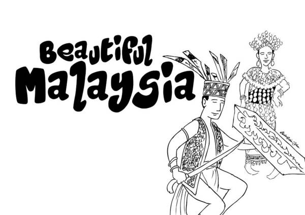 Dance Poster Featuring The Drawing Dayak By Abd Rahim