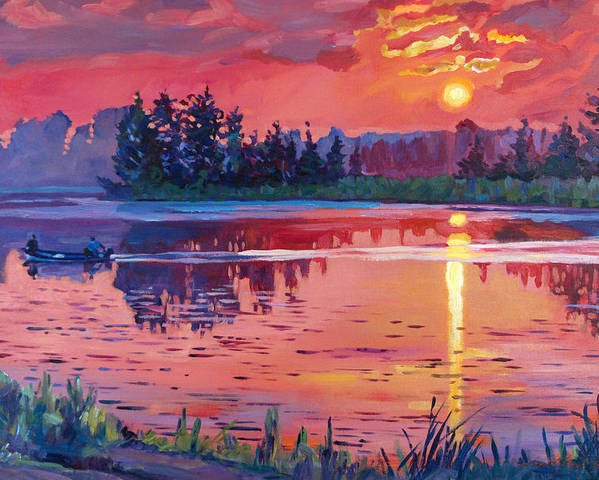 Landscape Poster featuring the painting Daybreak Reflection by David Lloyd Glover