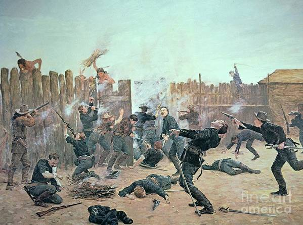 War Poster featuring the painting Defending The Fort by Charles Schreyvogel