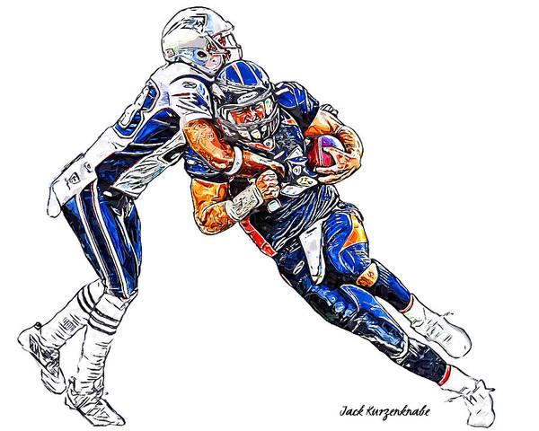 Denver Broncos Tim Tebow New England Patriots Andre Carter Poster featuring the digital art Denver Broncos Tim Tebow - New England Patriots Andre Carter by Jack K