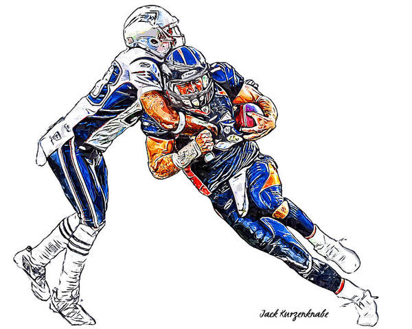 Denver Broncos Tim Tebow New England Patriots Rob Ninkovich Poster featuring the digital art Denver Broncos Tim Tebow - New England Patriots Rob Ninkovich by Jack K
