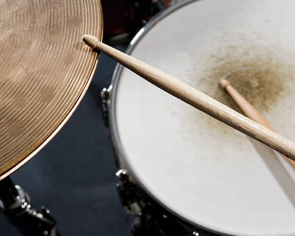 Horizontal Poster featuring the photograph Detail Of Drumsticks And A Drum Kit by Antenna