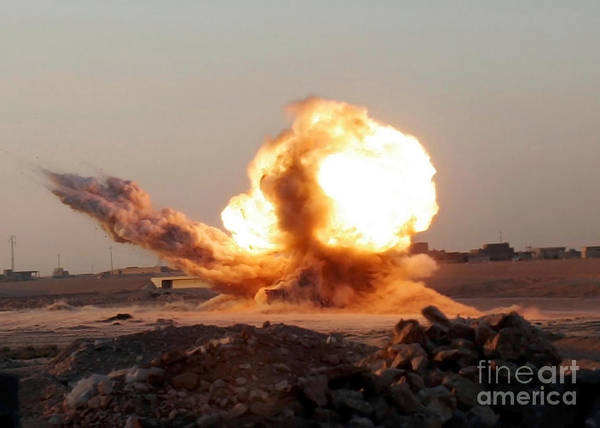 Horizontal Poster featuring the photograph Detonation Of A Weapons Cache by Stocktrek Images