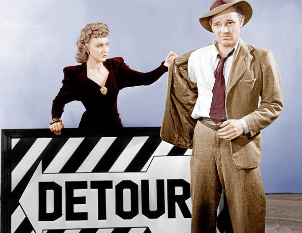 1940s Movies Poster featuring the photograph Detour, From Left Ann Savage, Tom Neal by Everett