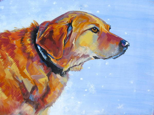 Painting Of A Golden Retriever Poster featuring the painting Dewey by Sarah Gayle Carter