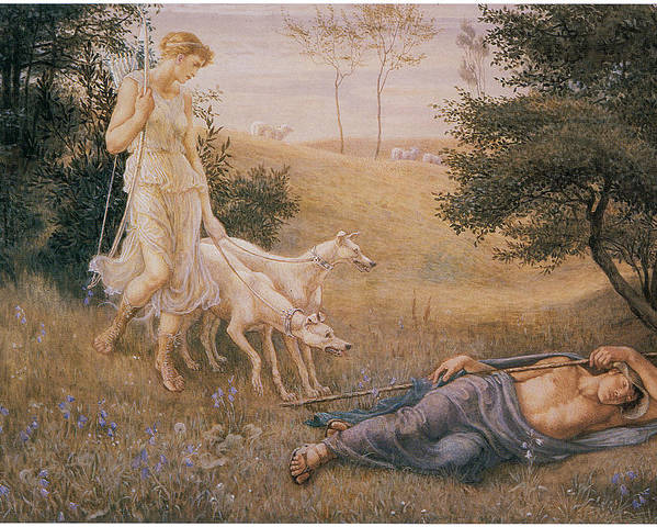 Walter Crane Poster featuring the painting Diana And Endymion by Walter Crane