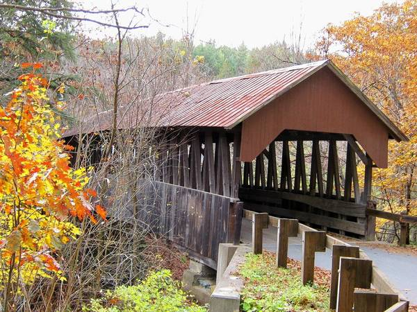 Nh Poster featuring the photograph Dingleton Hill Covered Bridge by Wayne Toutaint