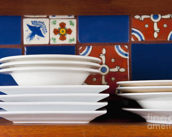 Architectural Detail Poster featuring the photograph Dishes In Front Of Colorful Tile by Thom Gourley/Flatbread Images, LLC
