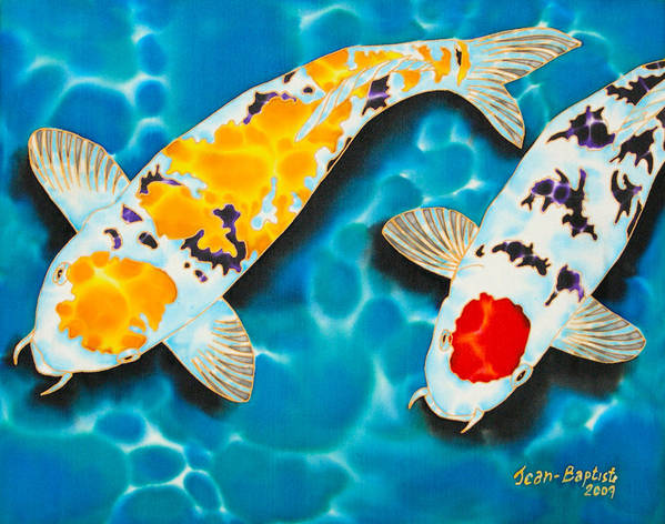 Koi Poster featuring the painting Ditsu Koi by Daniel Jean-Baptiste